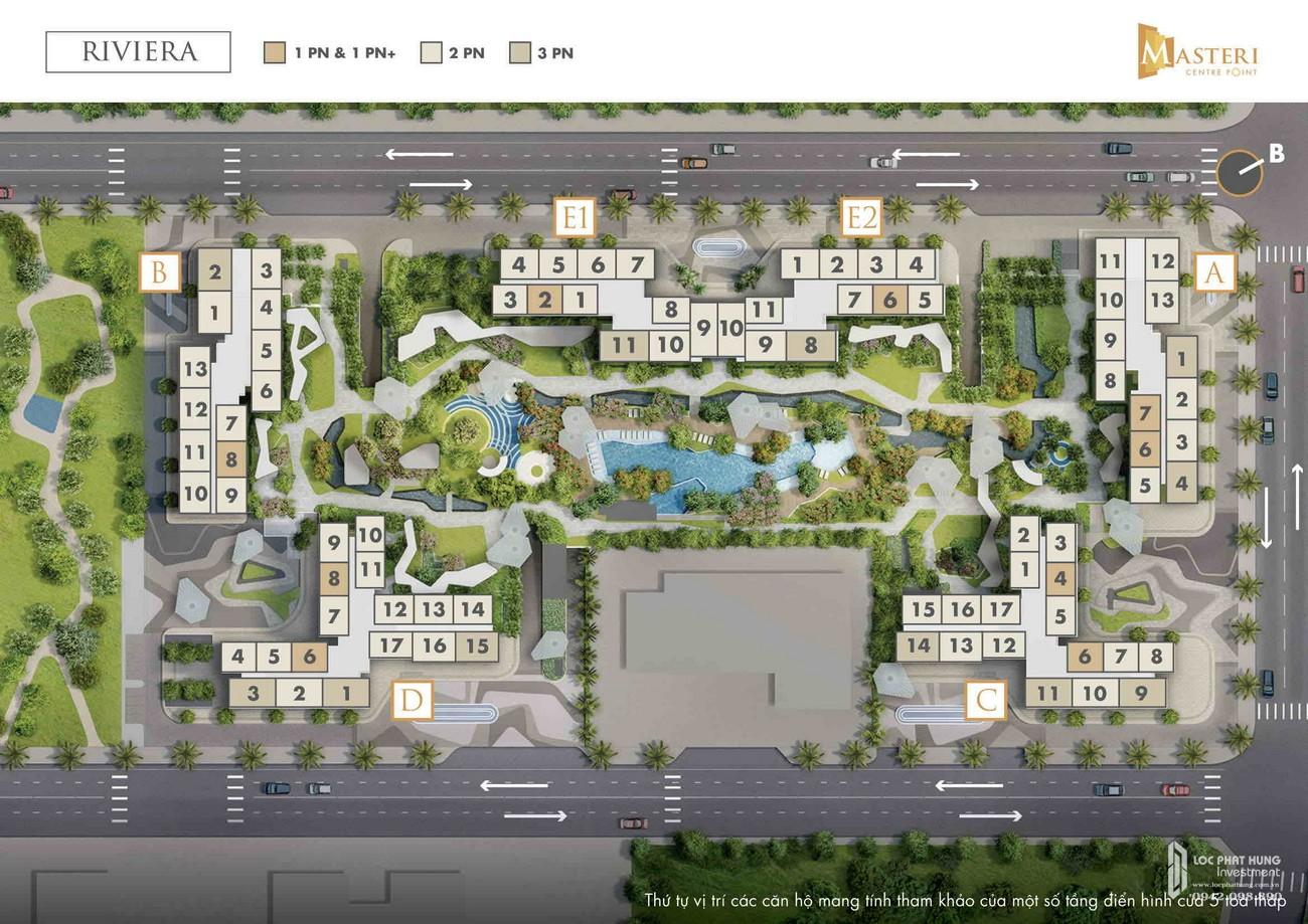 Mặt bằng phân khu Riviera dự án căn hộ chung cư Masteri Centre Point Quận 9 Đường Nguyễn Xiển chủ đầu tư Vingroup