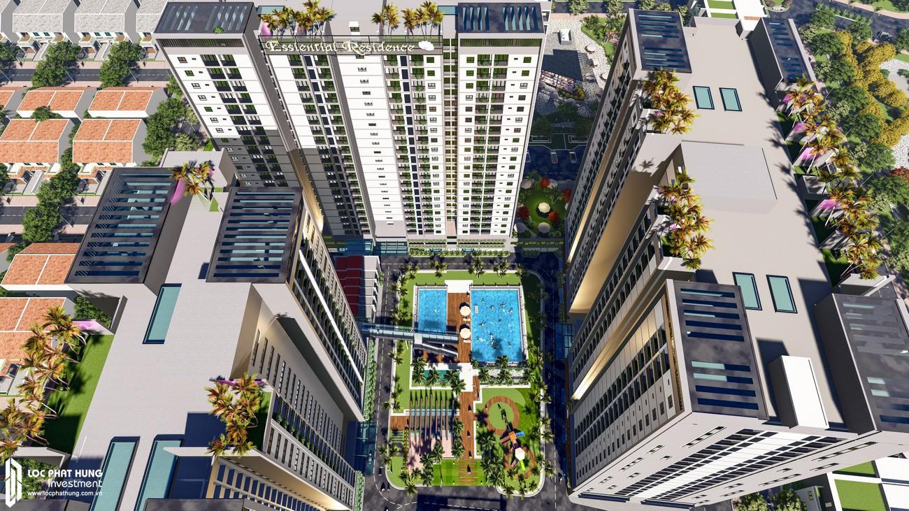 Hồ bơi và công viên nội  khu dự án căn hộ chung cư EcoXuan Lái Thiêu Bình Dương