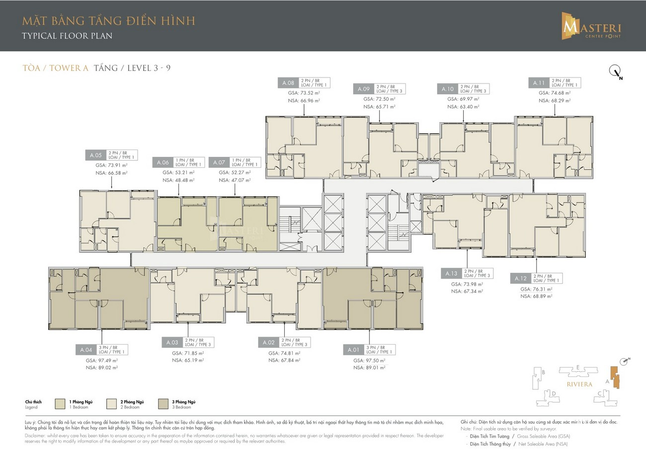 Mặt bằng tầng 3-9 dự án căn hộ chung cư Masteri Centre Point Quận 9 Đường Nguyễn Xiển chủ đầu tư Masterise Homes