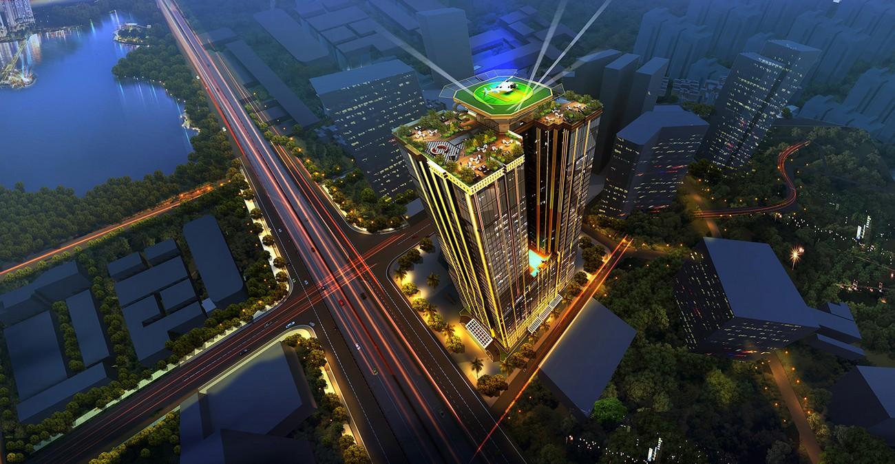 Phối cảnh tổng thể dự án căn hộ chung cư Sunshine Center Quận Nam Từ Liêm đường Phạm Hùng chủ đầu tư Sunshine Group