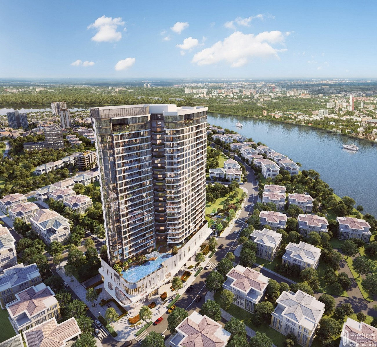 Phối cảnh tổng thể dự án căn hộ chung cư Thảo Điền Green Towers Quận 2 chủ đầu tư SIC