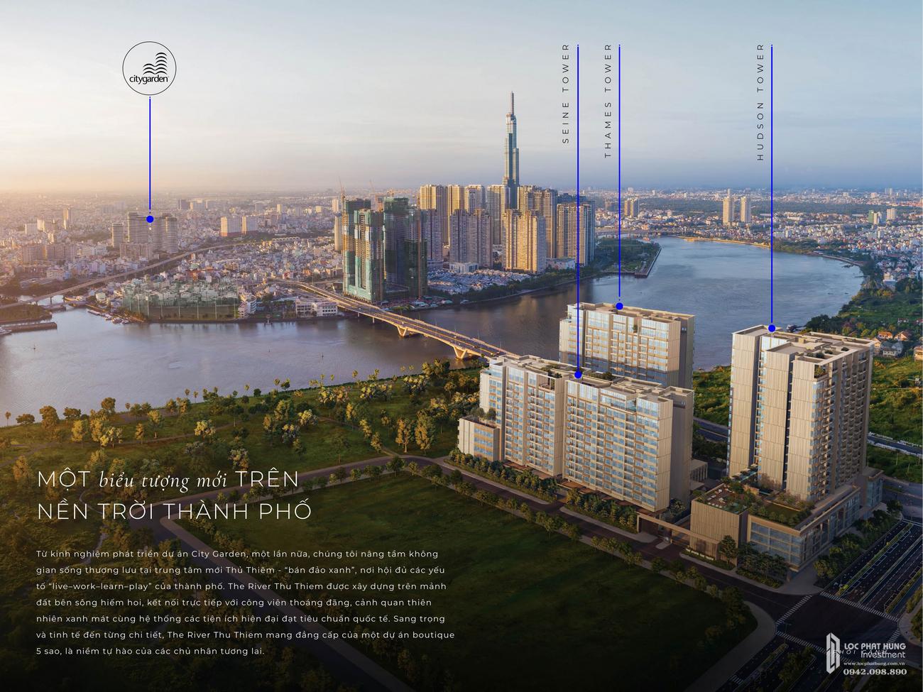 Phối cảnh dự án căn hộ The River Thủ Thiêm Quận 2 Đường Nguyễn Cơ Thạch chủ đầu tư Refico