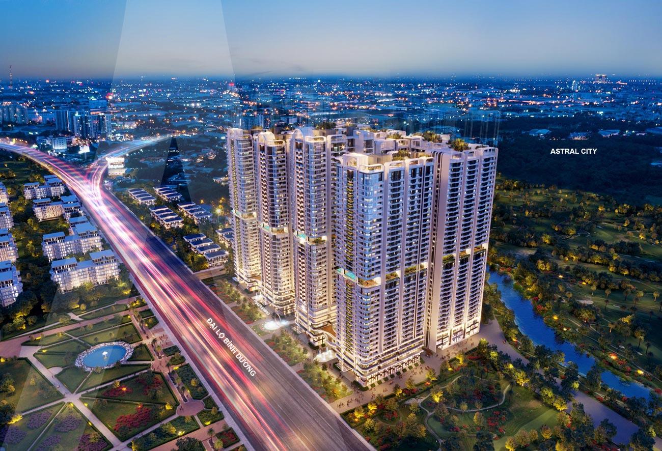 Hình về đêm dự án căn hộ chung cư Astral City