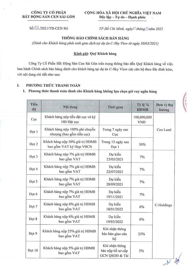 Tiến độ thanh toán căn hộ chung cư C Sky View 05/2021