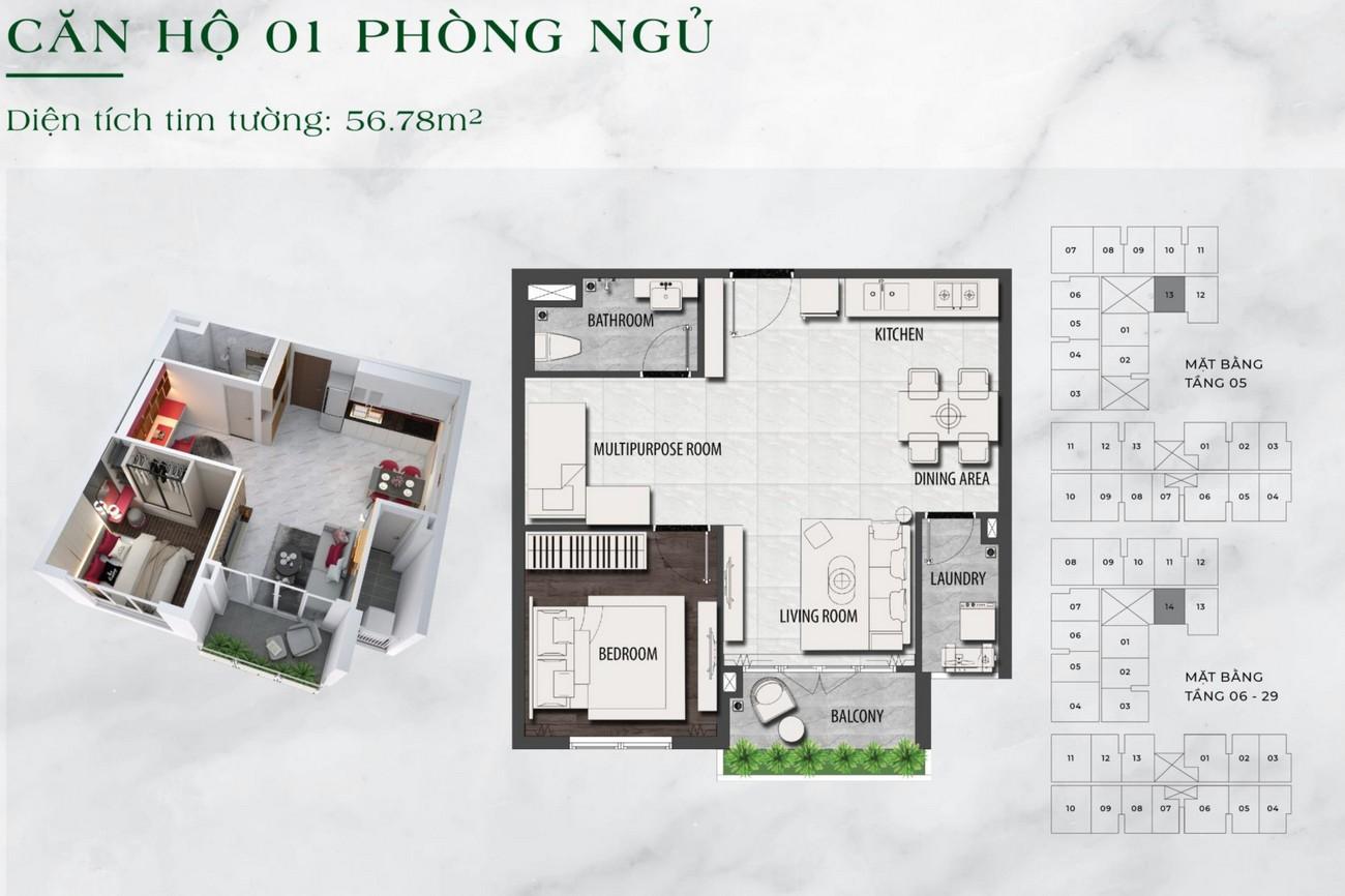 Thiết kế chi tiết căn hộ chung cư  1 phòng ngủ dự án LDG Sky TP Dĩ An, Tỉnh Bình Dương loại 56,78m2