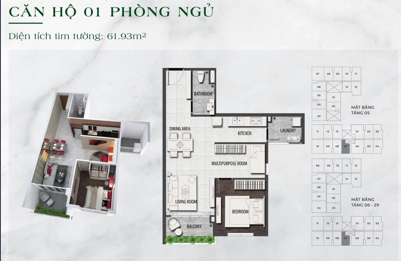 Thiết kế chi tiết căn hộ chung cư  1 phòng ngủ dự án LDG Sky TP Dĩ An, Tỉnh Bình Dương loại 61.93m2