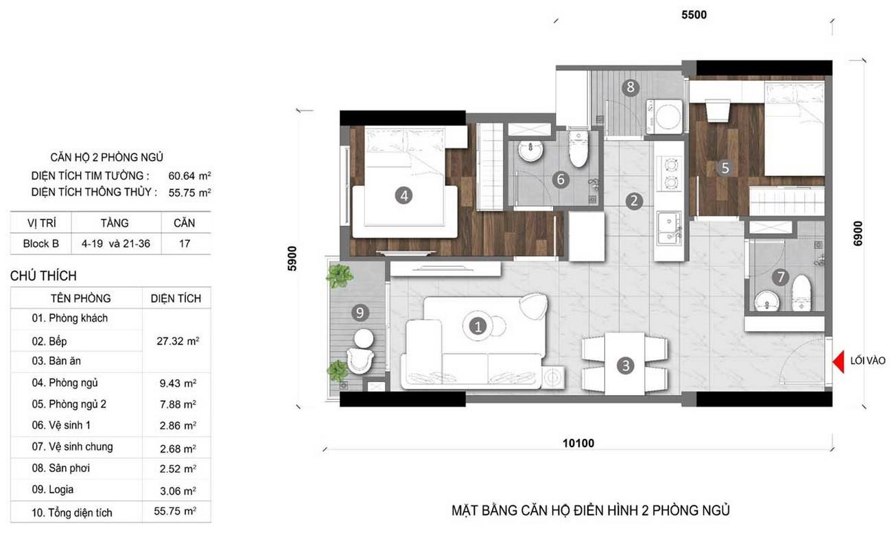 Thiết kế căn hộ 2 phòng ngủ 60m2 dự án Căn Hộ chung cư Opal Skyline Thuận An Đường Quốc lộ 13 chủ đầu tư Đất Xanh Group