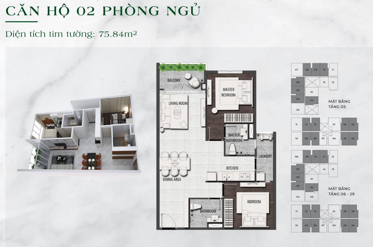 Thiết kế chi tiết căn hộ chung cư  2 phòng ngủ dự án LDG Sky TP Dĩ An, Tỉnh Bình Dương loại 75.84m2