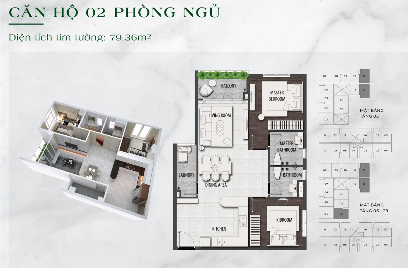 Thiết kế chi tiết căn hộ chung cư  2 phòng ngủ dự án LDG Sky TP Dĩ An, Tỉnh Bình Dương loại 79m2