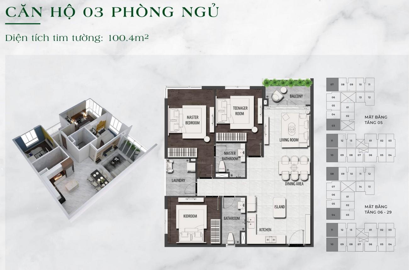 Thiết kế chi tiết căn hộ chung cư  3 phòng ngủ dự án LDG Sky TP Dĩ An, Tỉnh Bình Dương loại 100m2