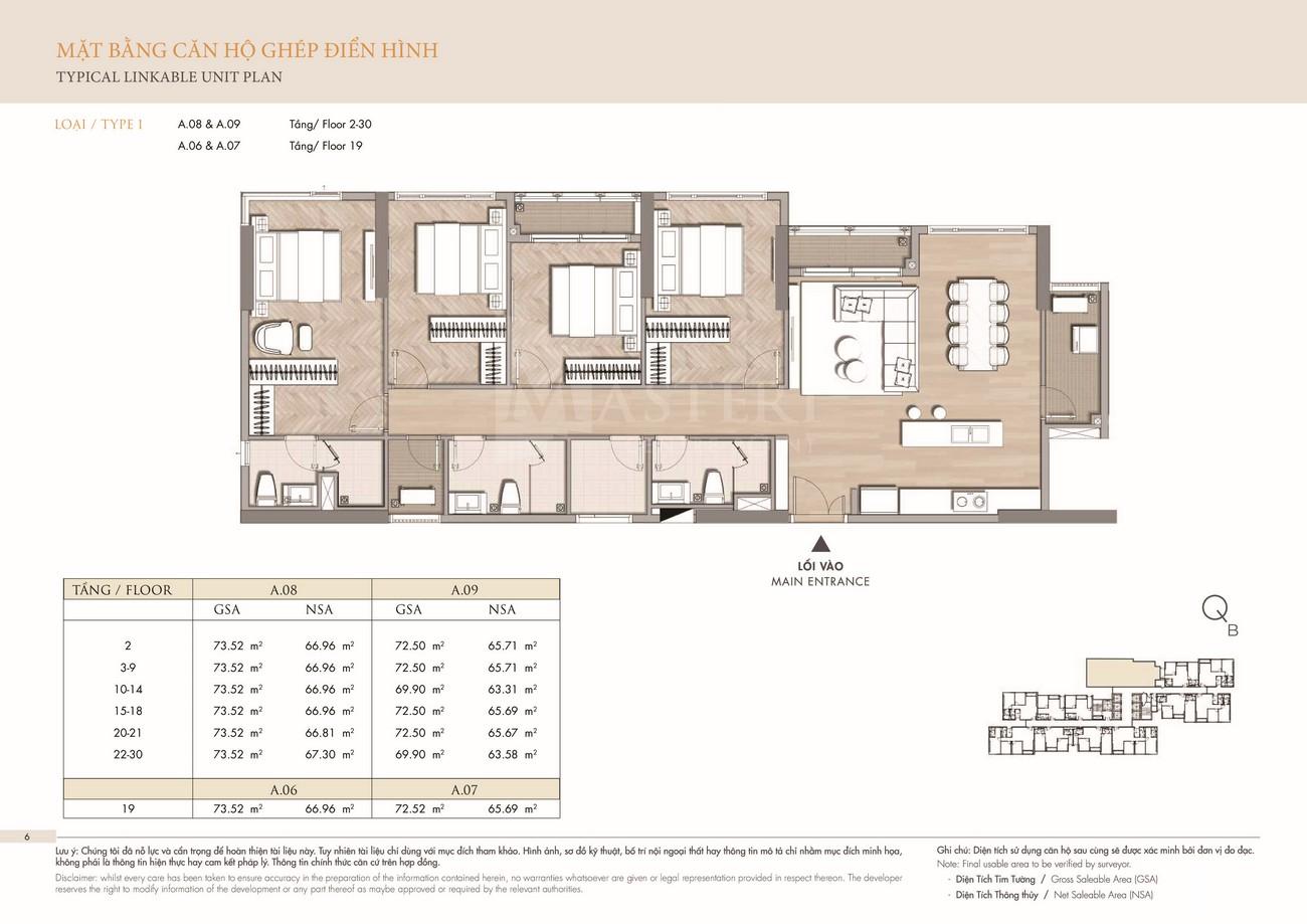 Thiết kế căn hộ ghép dự án Masteri Centre Point Quận 9 Đường Nguyễn Xiển