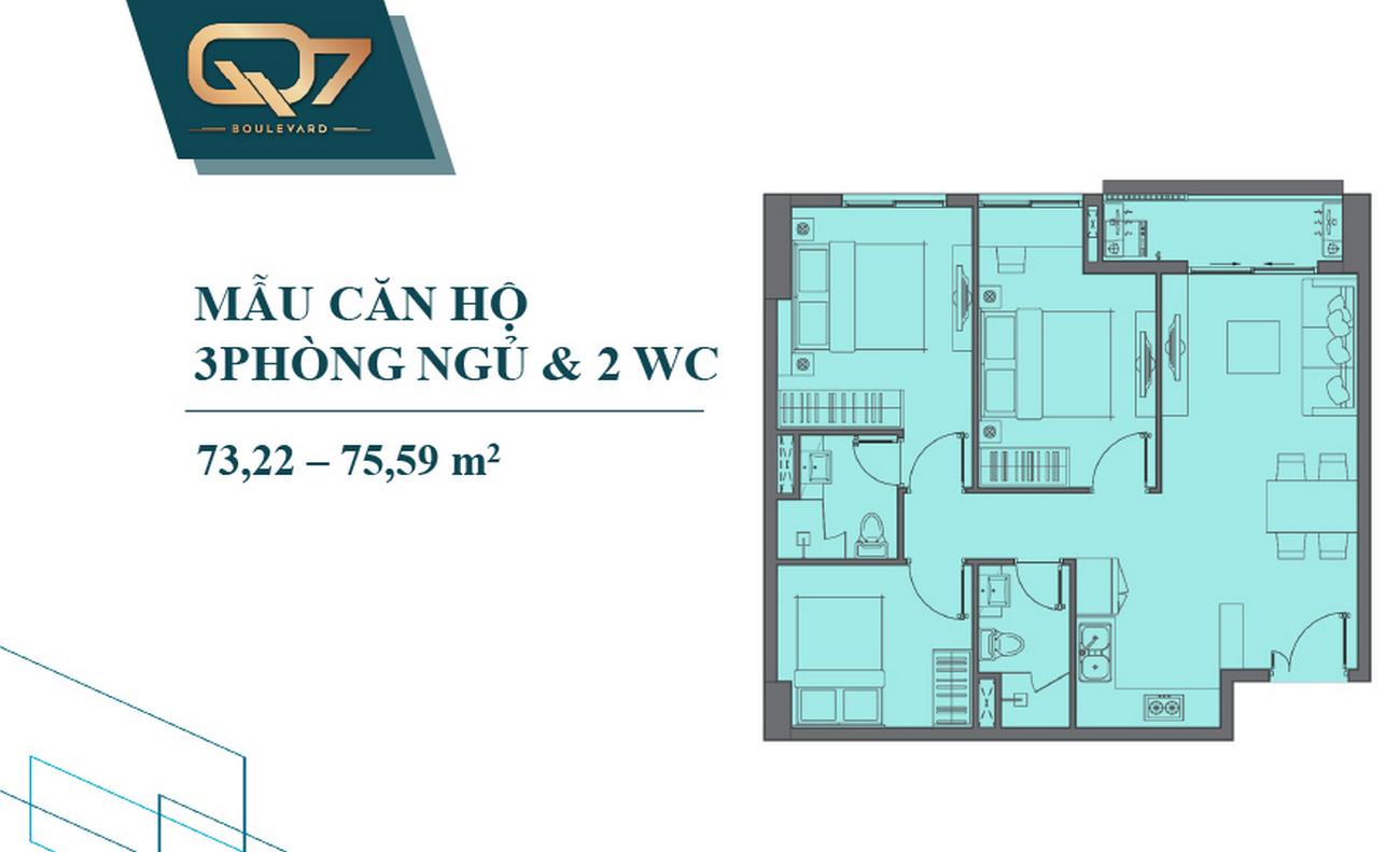 Thiết kế căn hộ Q7 Boulevard Quận 7 Đường Nguyễn Lương Bằng chủ đầu tư Hưng Thịnh