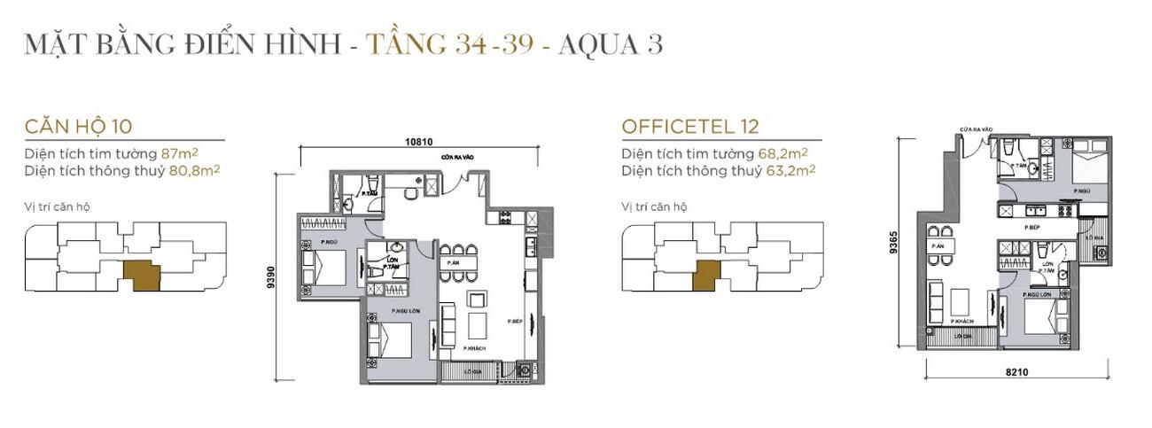 Thiết kế căn hộ tầng điển hình The Aqua 2 Vinhomes Golden River Quận 1 Đường Nguyễn Hữu Cảnh chủ đầu tư Vingroup