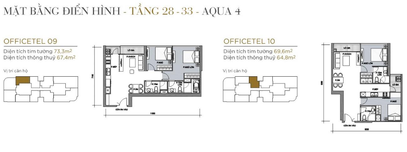 Thiết kế căn hộ tầng điển hình The Aqua 4 Vinhomes Golden River Quận 1 Đường Nguyễn Hữu Cảnh chủ đầu tư Vingroup