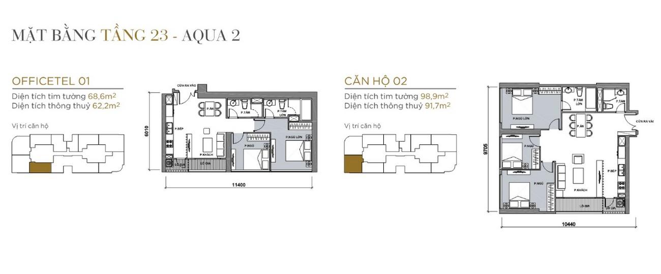 Thiết kế căn hộ tầng 2-22 The Aqua 2 Vinhomes Golden River Quận 1 Đường Nguyễn Hữu Cảnh chủ đầu tư Vingroup