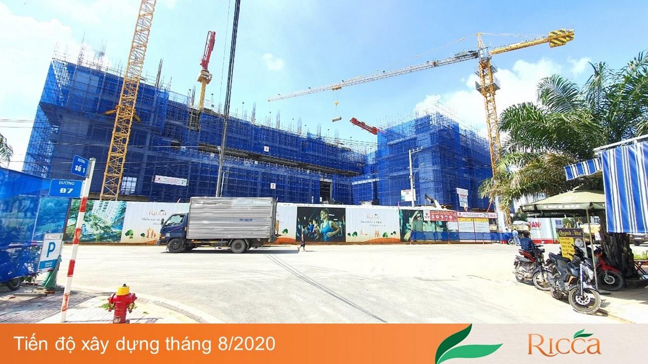 Tiến độ dự án Căn hộ chung cư Ricca Quận 9 Đường Gò Cát Phường Phú Hữu 08/2020