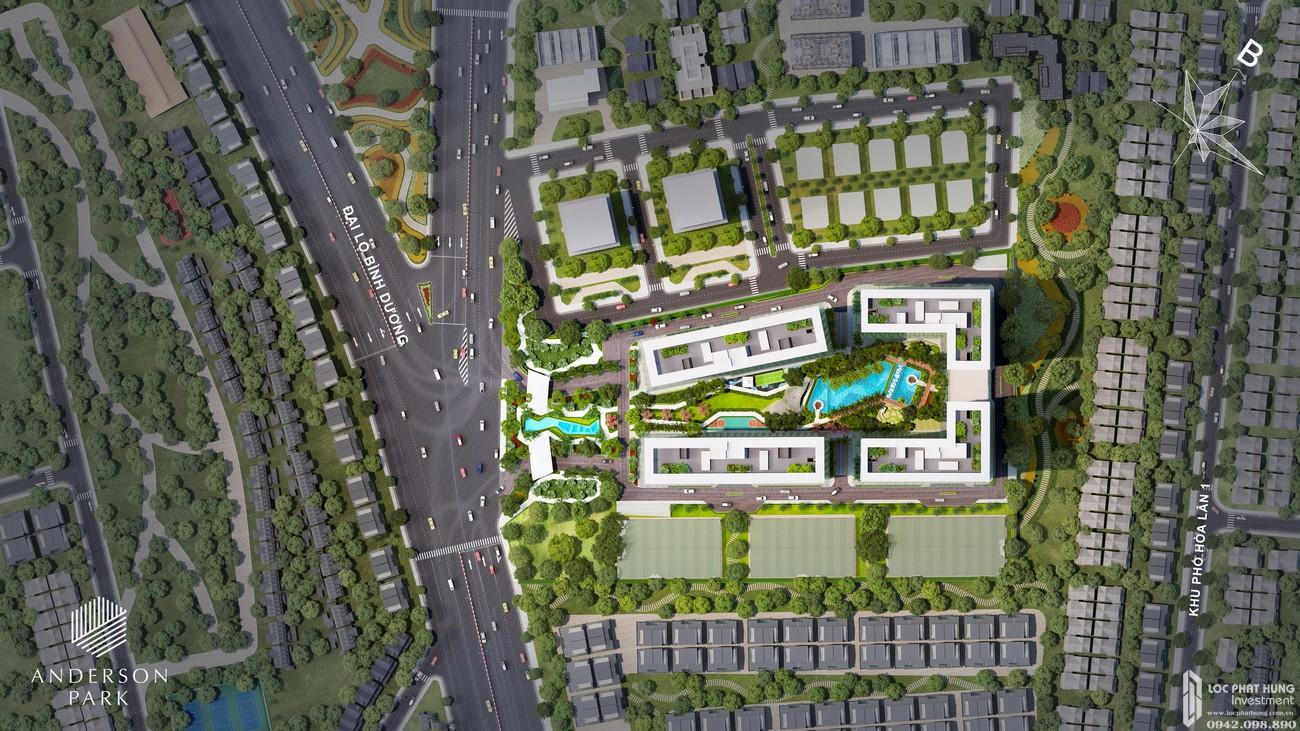 Mặt bằng tổng thể tiện ích dự án căn hộ chung cư Anderson Park Thuận An Bình Dương