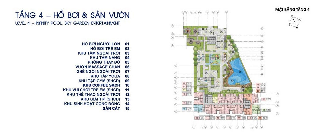 Mặt bằng tiện ích tầng 4 dự án Căn Hộ chung cư Opal Skyline Thuận An Đường Quốc lộ 13 chủ đầu tư Đất Xanh Group