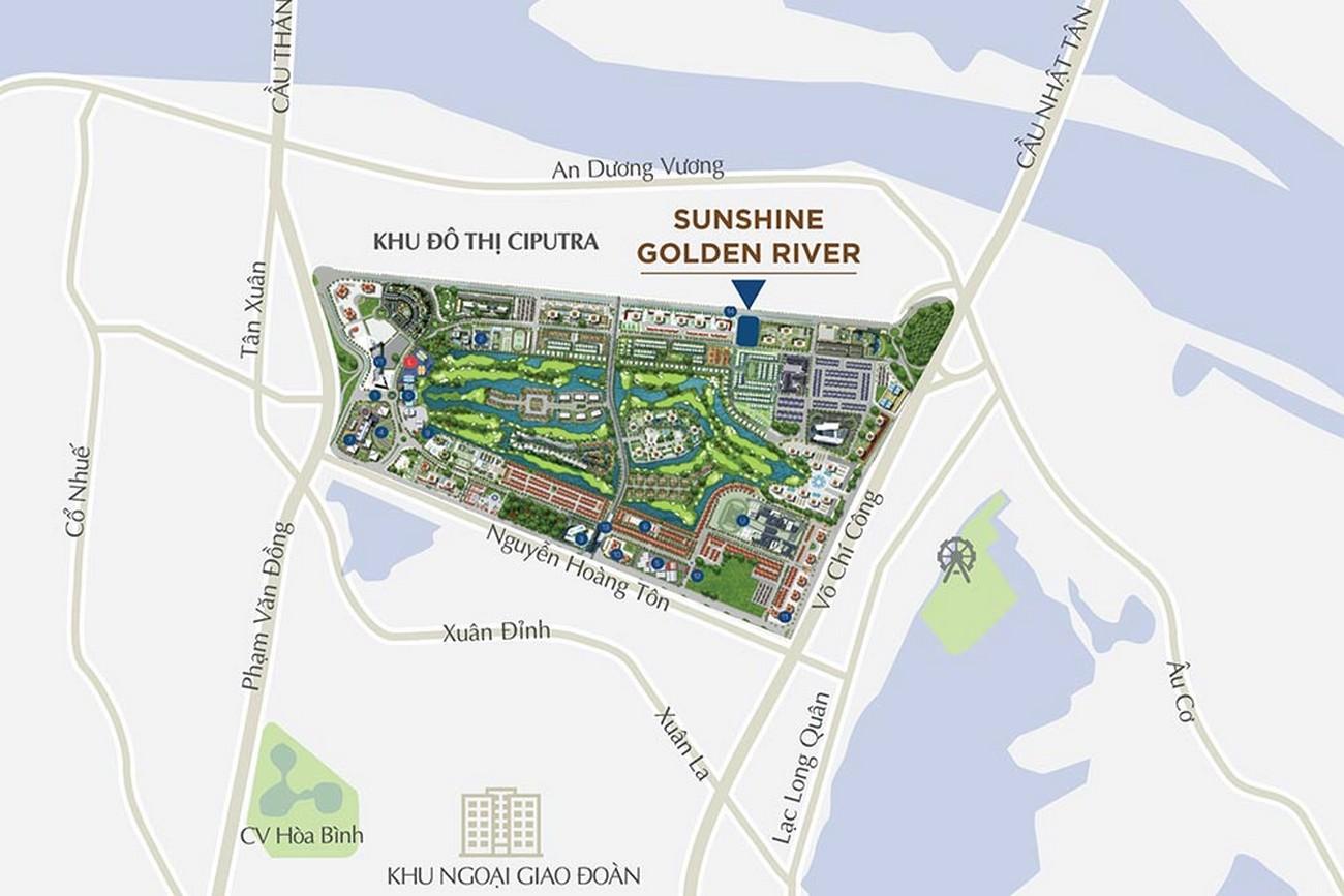 Vị trí địa chỉ dự án căn hộ chung cư Sunshine Golden River Quận Tây Hồ KĐT Ciputra chủ đầu tư Sunshine Group