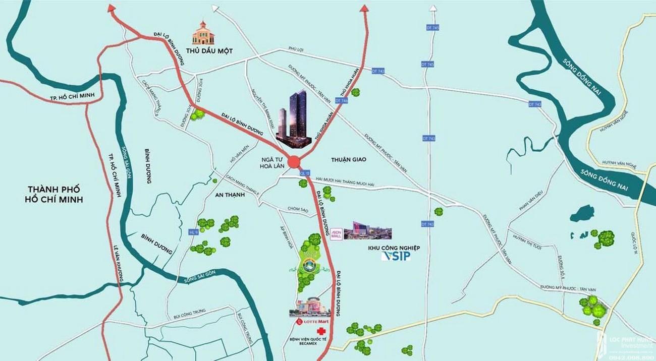 Vị trí địa chỉ dự án căn hộ chung cư Anderson Park Thuận An Đường Quốc lộ 13 chủ đầu tư Quốc Cường Gia Lai