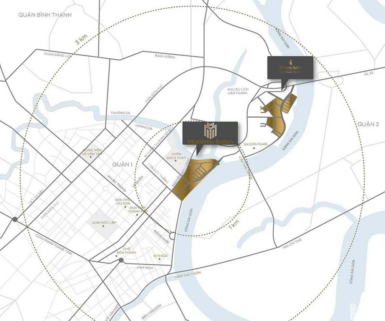 Vị trí địa chỉ dự án căn hộ chung cư Masteri Marina One Quận 1 chủ đầu tư Masterise Homes