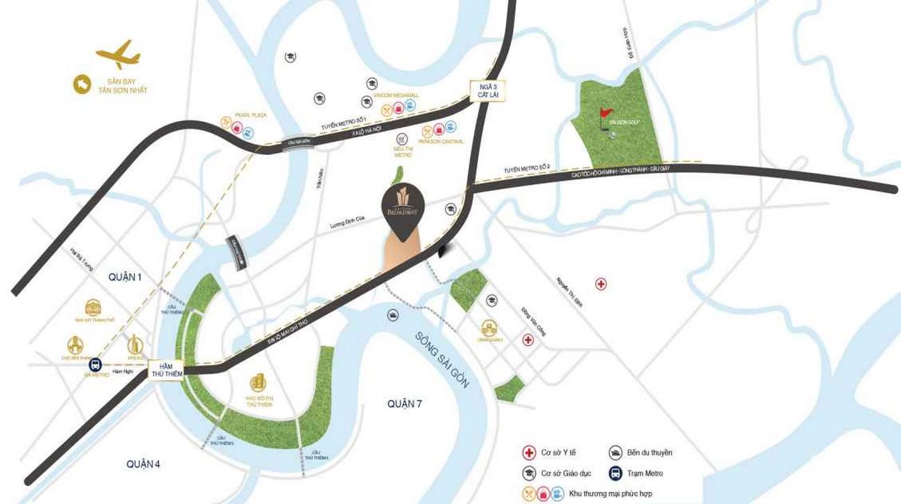 Vị trí địa chỉ dự án căn hộ chung cư Sài Gòn Broadway Quận 2 Đường  Mai Chí Thọ chủ đầu tư Novaland