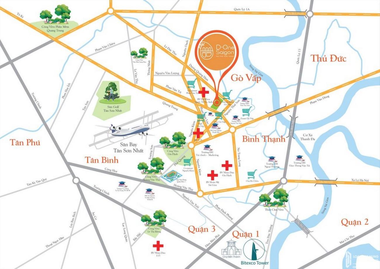 Vị trí địa chỉ dự án căn hộ shophouse  D One Saigon Gò Vấp chủ đầu tư DHA Corp