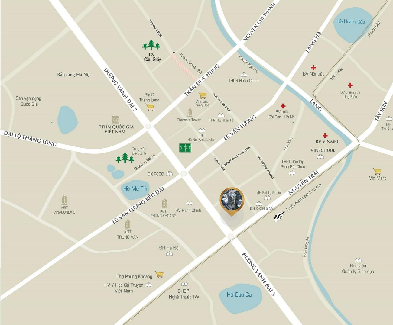 Vị trí địa chỉ dự án căn hộ chung cư Sunshine Boulevard Quận Thanh Xuân Đường Khuất Duy Tiến chủ đầu tư Sunshine Group