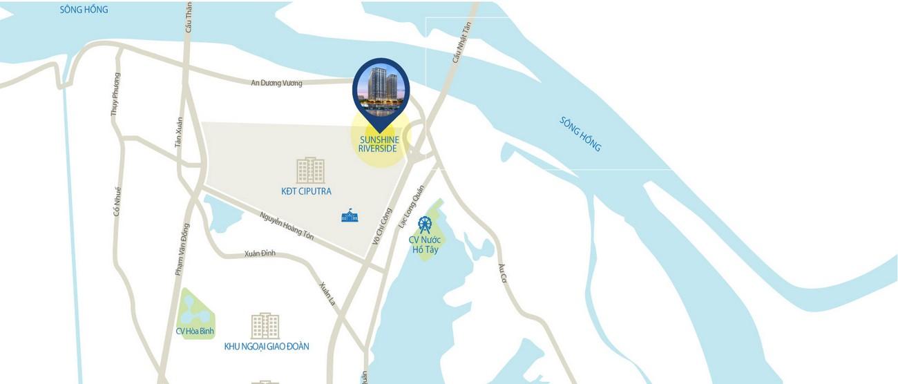 Vị trí địa chỉ dự án căn hộ chung cư Sunshine Riverside Quận Tây Hồ KĐT Ciputra chủ đầu tư Sunshine Group