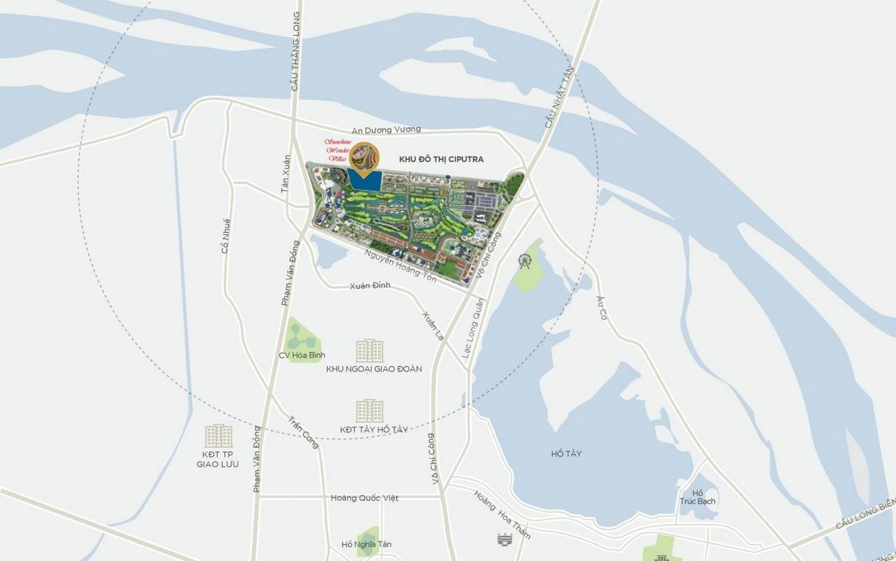 Vị trí địa chỉ dự án biệt thự Sunshine Wonder Villas Quận Tây Hồ KĐT Ciputra chủ đầu tư Sunshine Group