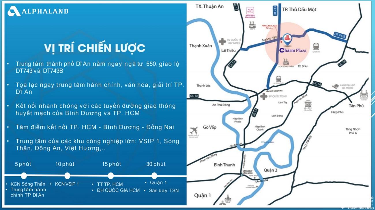 Vị trí địa chỉ dự án căn hộ chung cư Charm Plaza Dĩ An Đường ĐT743B chủ đầu tư DCT GROUP