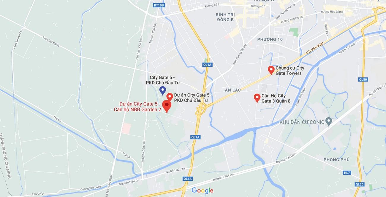 Vị trí địa chỉ dự án căn hộ chung cư City Gate 5 Bình Chánh Đường Hưng Nhơn chủ đầu tư NBB