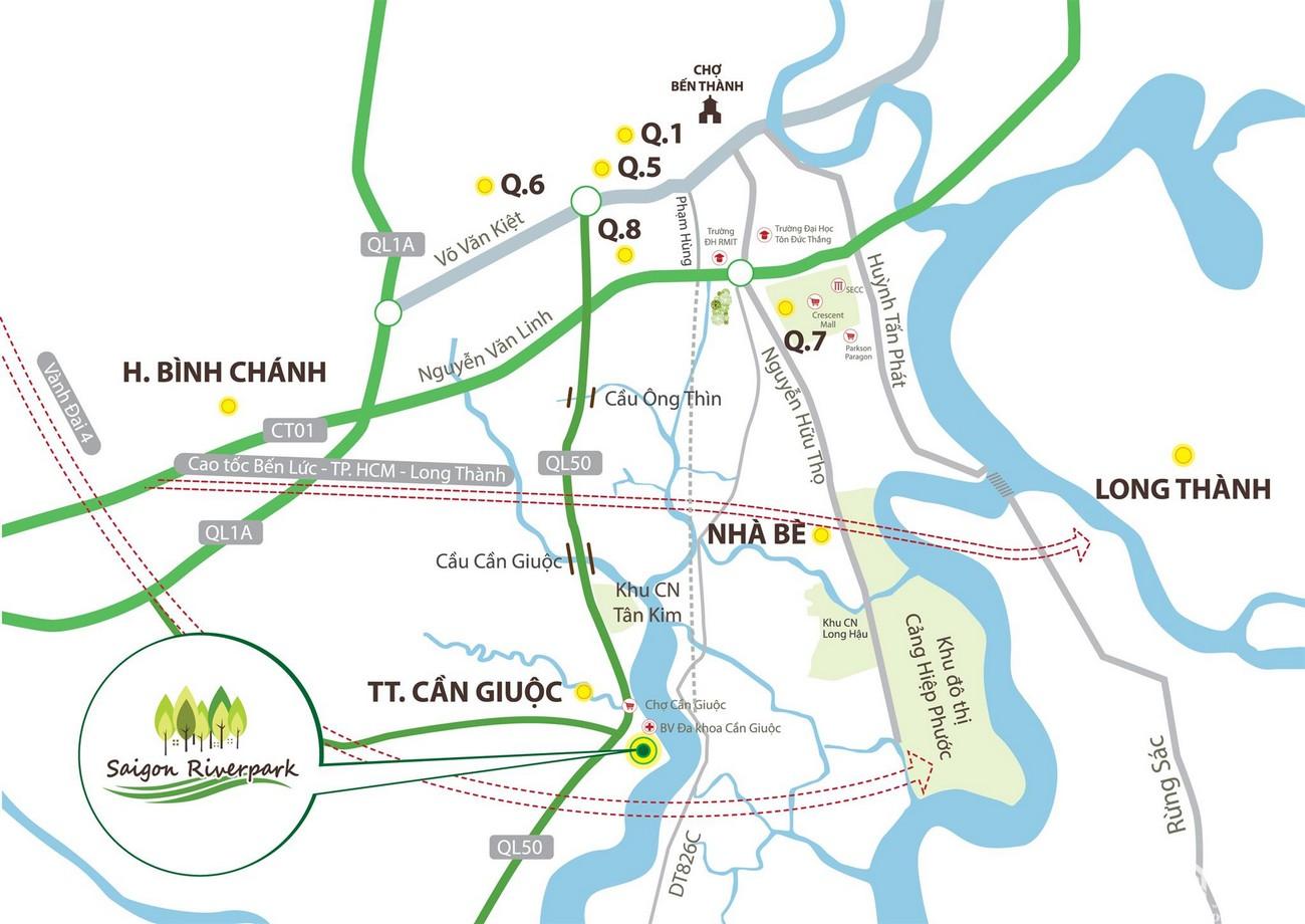 Vị trí địa chỉ dự án đất nền Saigon Riverpark Cần Giuộc Đường Quốc lộ 50 chủ đầu tư Tân Phú Thịnh