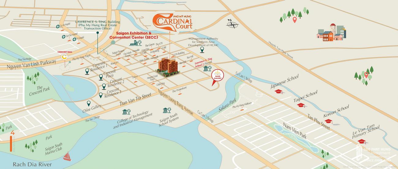 Vị trí địa chỉ dự án căn hộ Cardinal Court Quận 7 Đường Raymondienne chủ đầu tư Phú Mỹ Hưng
