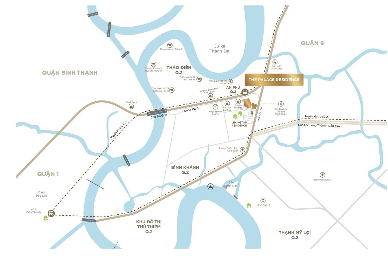 Vị trí địa chỉ dự án căn hộ chung cư The Palace Residence Quận 2 Đường Mai Chí Thọ chủ đầu tư Novaland
