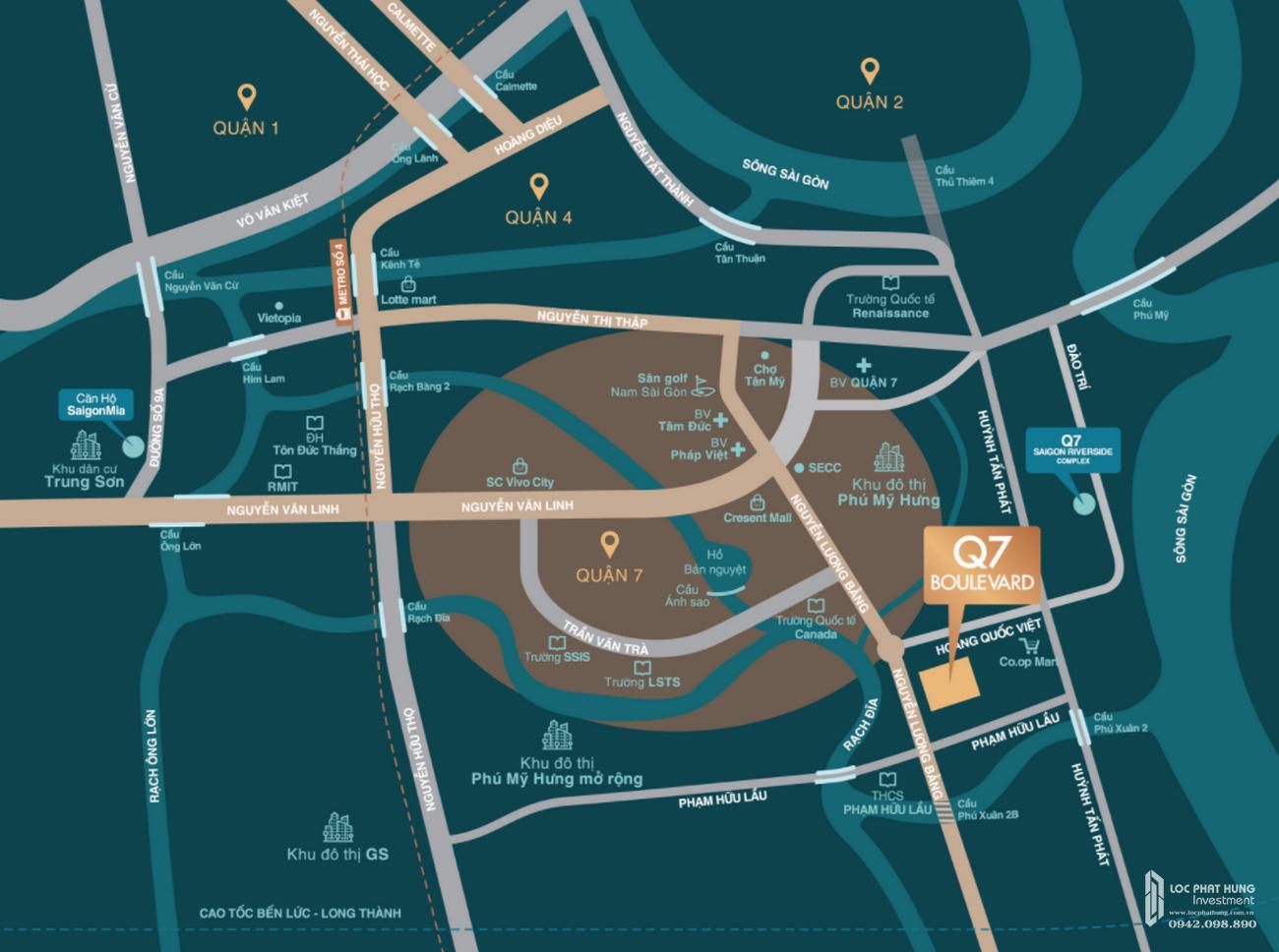 Vị trí địa chỉ dự án căn hộ chung cư Q7 Boulevard Quận 7 Đường Nguyễn Lương Bằng chủ đầu tư Hưng Thịnh