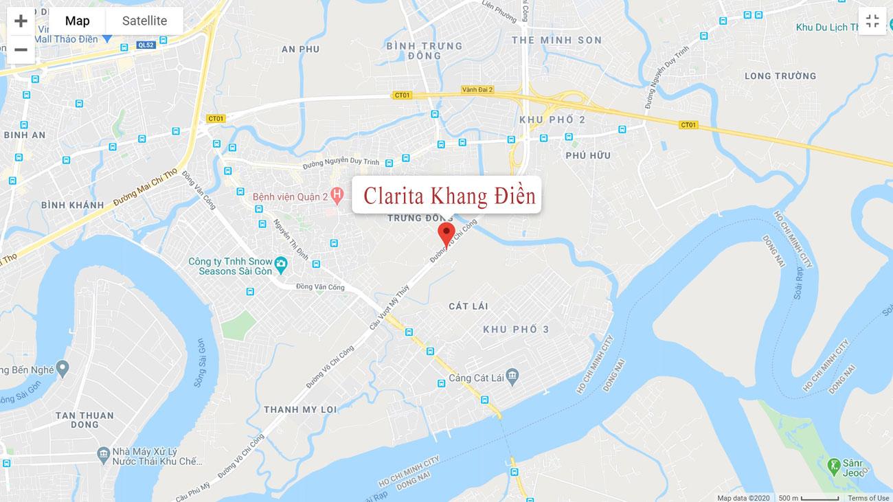 Vị trí dự án nhà phố biệt thự Clarita Khang Điền