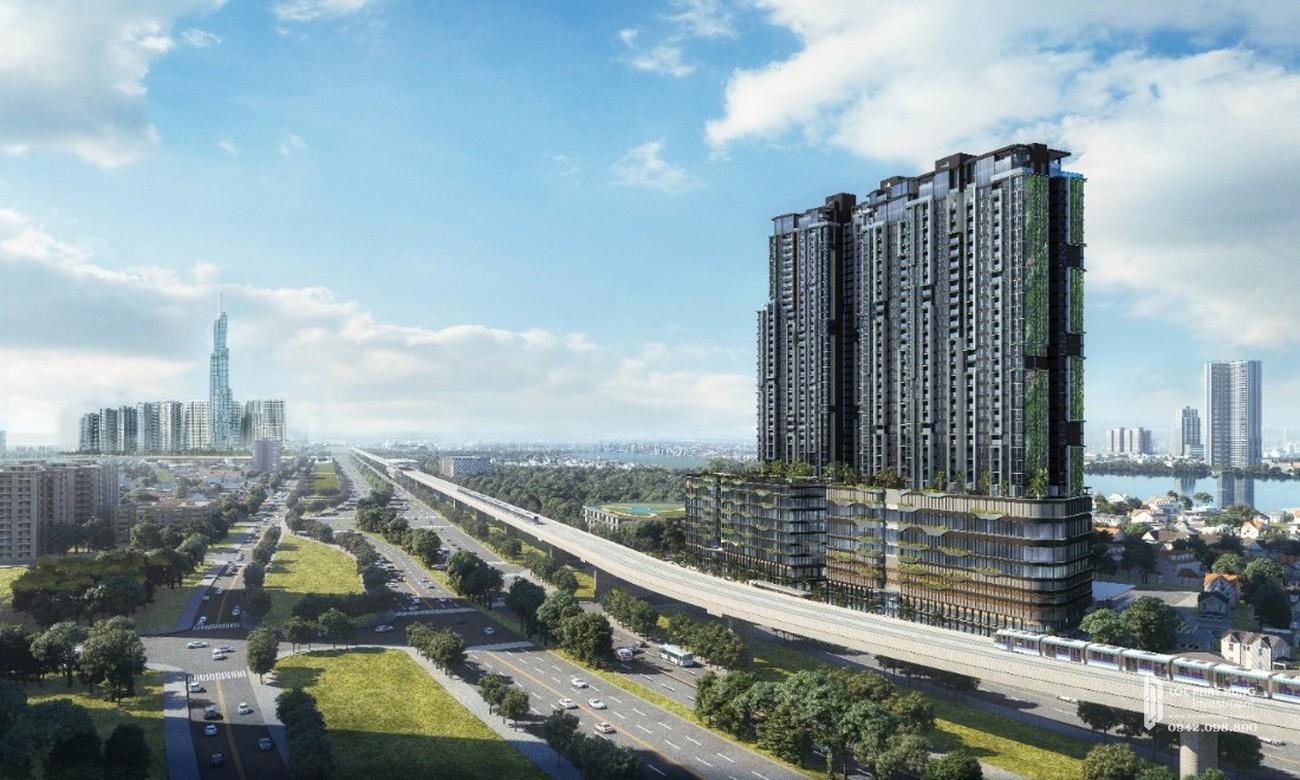 Phối cảnh tổng thể dự án căn hộ chung cư Masterise Lumière Riverside Quận 2 Đường Xa Lộ Hà Nội chủ đầu tư Masterise Homes