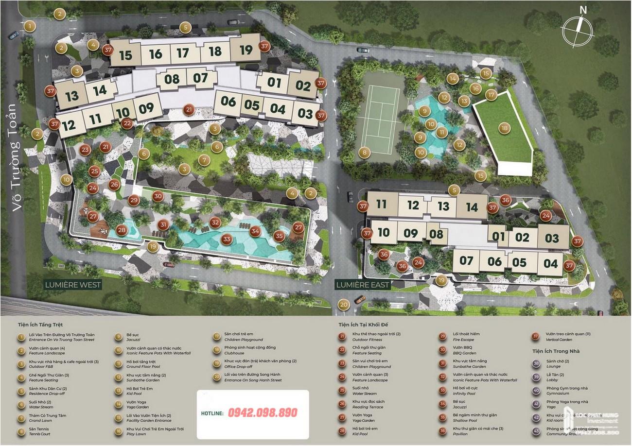 Mặt bằng tổng thẻ dự án căn hộ chung cư Masteri Lumière Riverside Quận 2 Đường Xa Lộ Hà Nội chủ đầu tư Masterise Homes