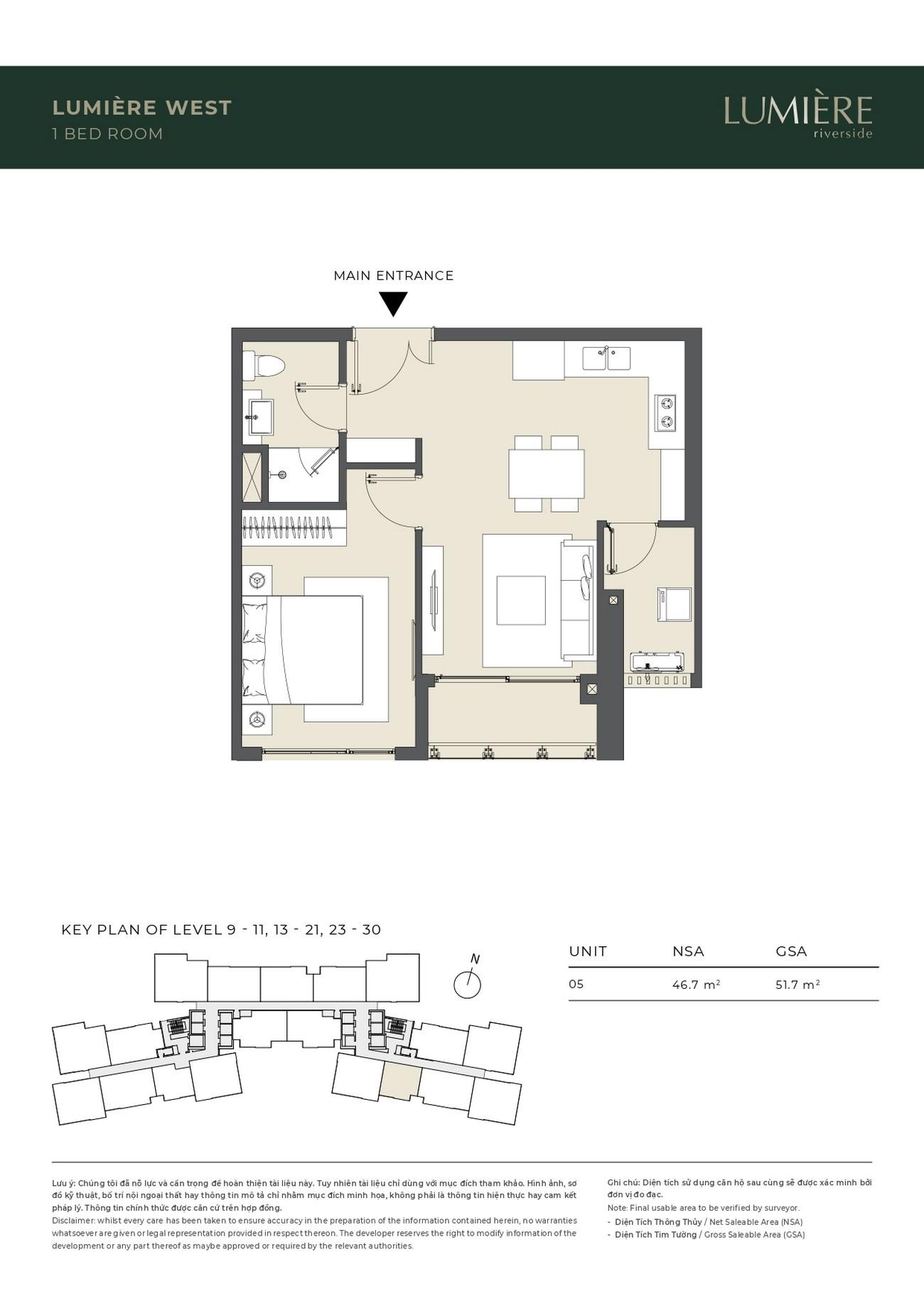 Thiết kế căn 1 phòng ngủ dự án căn hộ chung cư Masterise Lumière Riverside Quận 2 Đường Xa Lộ Hà Nội chủ đầu tư Masterise Homes