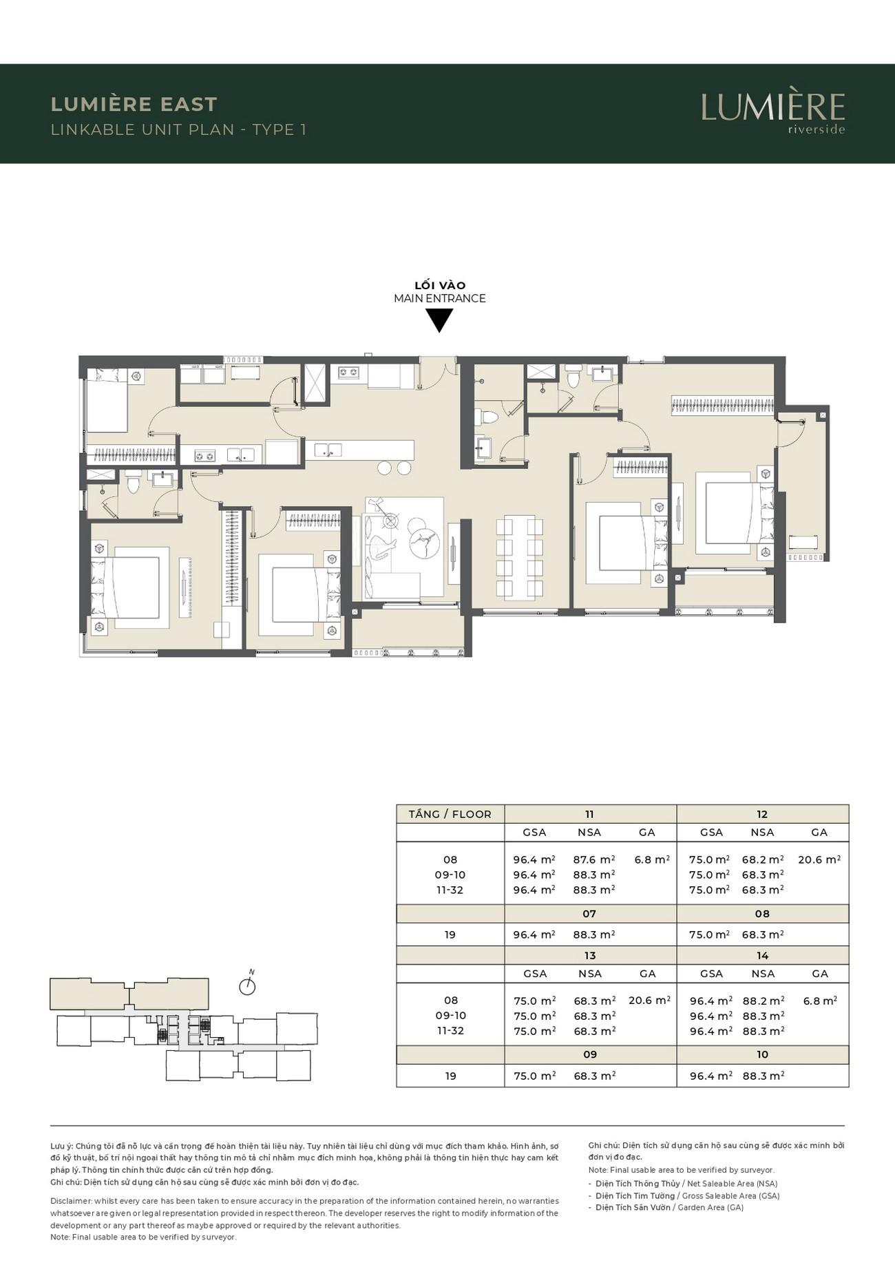 Thiết kế căn hộ ghép Lumiere East dự án căn hộ chung cư Masterise Lumière Riverside Quận 2 Đường Xa Lộ Hà Nội chủ đầu tư Masterise Homes