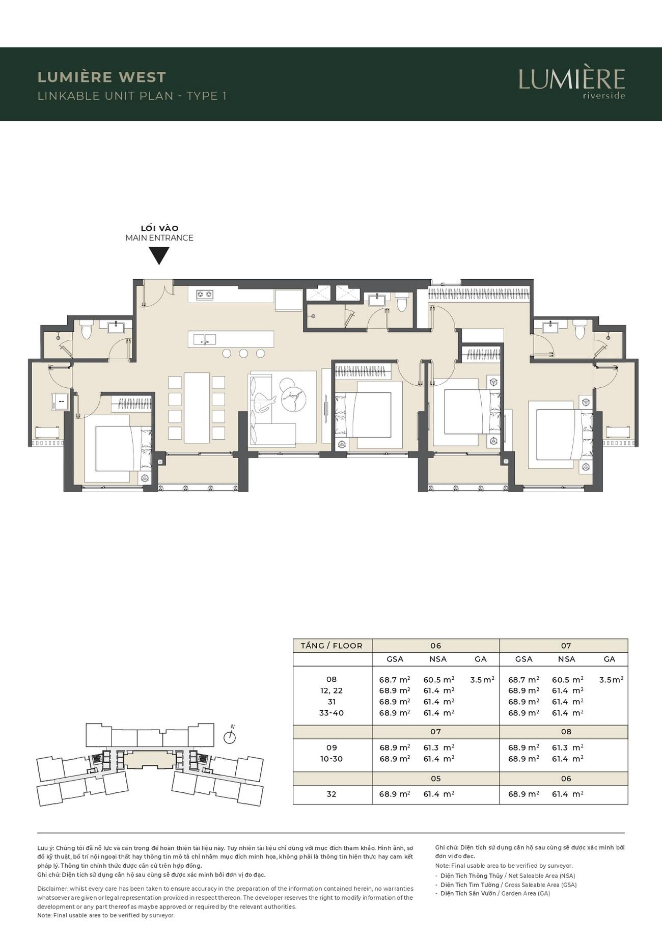 Thiết kế căn hộ ghép Lumiere West dự án căn hộ chung cư Masteri Lumière Riverside Quận 2 Đường Xa Lộ Hà Nội chủ đầu tư Masterise Homes