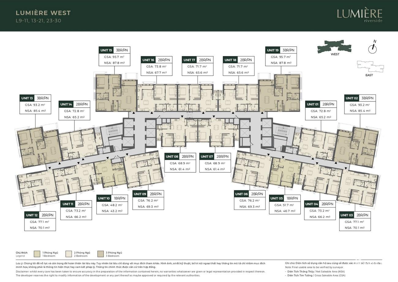 Mặt bằng dự án căn hộ chung cư Masteri Lumière Riverside Quận 2 Đường Xa Lộ Hà Nội chủ đầu tư Masterise Homes