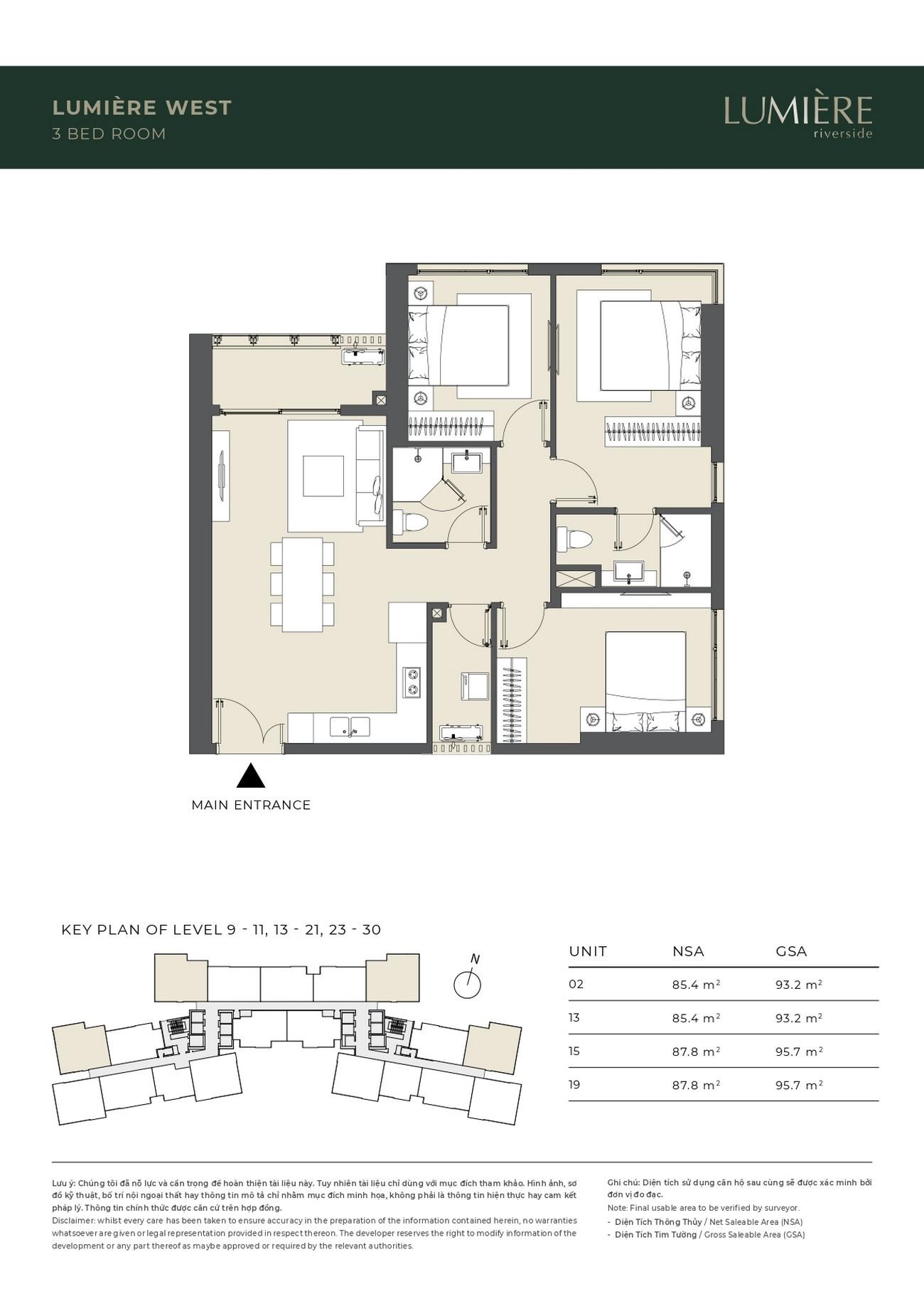 Thiết kế căn 3 phòng ngủ dự án căn hộ chung cư Masterise Lumière Riverside Quận 2 Đường Xa Lộ Hà Nội chủ đầu tư Masterise Homes