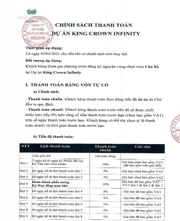 Phương thức thanh toán dự án căn hộ chung cư King Crown Infinity Thủ Đức Đường Võ Văn Ngân chủ đầu tư Gia Khang