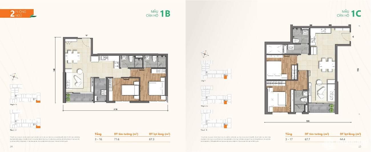 Thiết kế chi tiết căn hộ chung cư Ricca Quận 9 - Loại 2 phòng ngủ