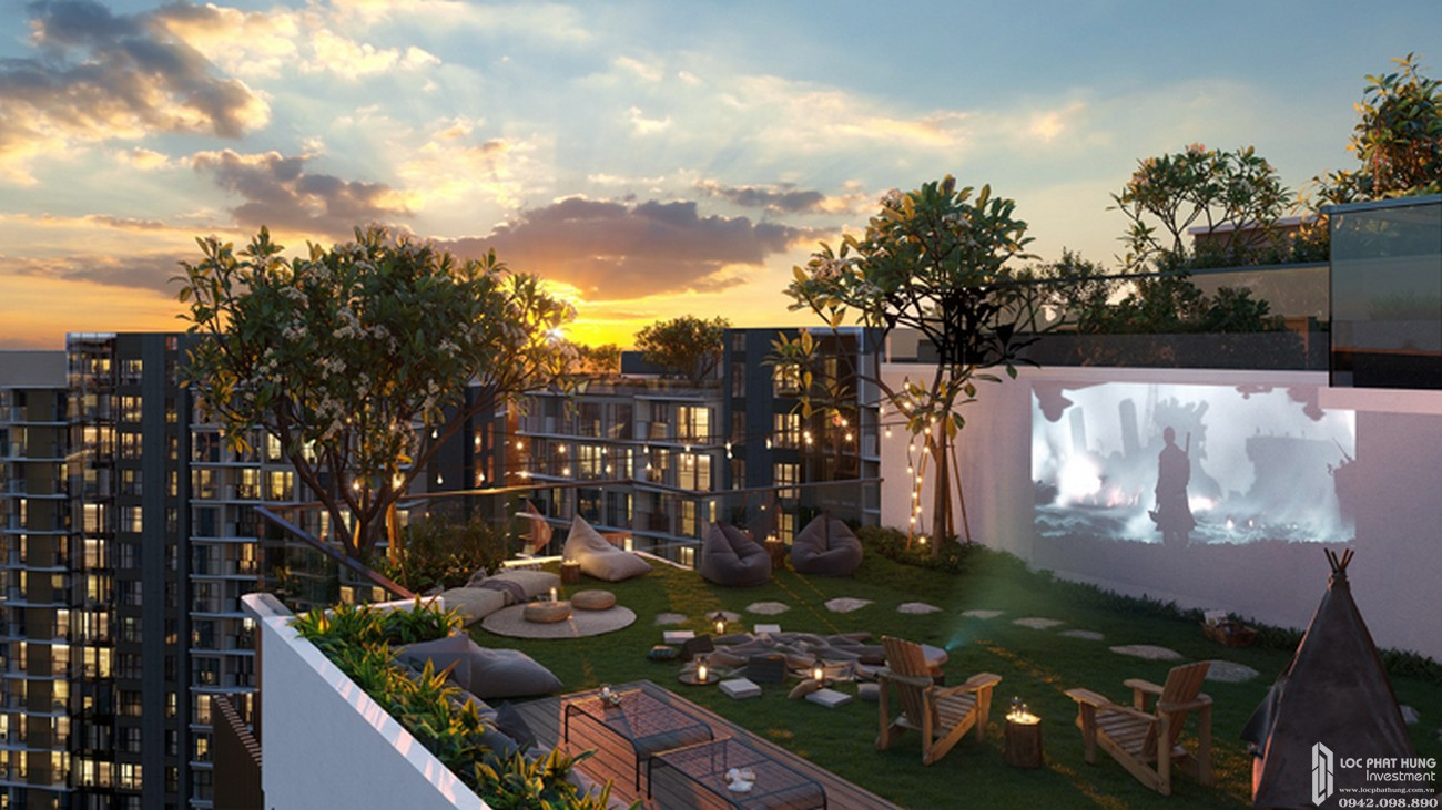 Rạp chiếu phim ngoài trời dự án căn hộ chung cư D Aqua Quận 8 chủ đầu tư DHA Corp