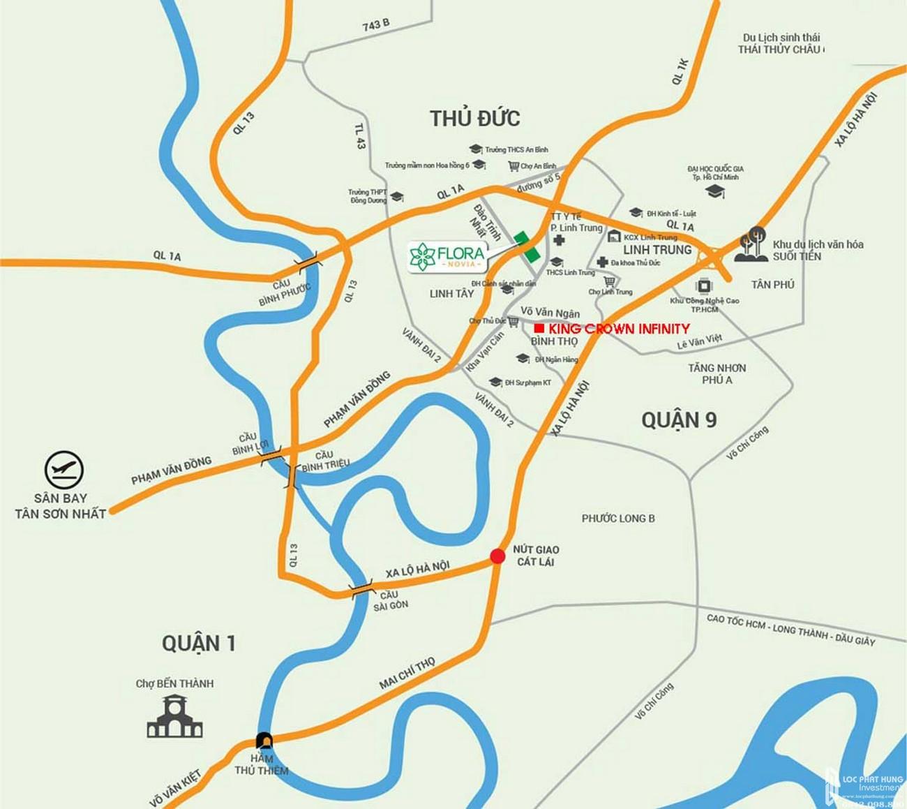 Vị trí địa chỉ dự án căn hộ chung cư King Crown Thủ Đức Đường Võ Văn Ngân chủ đầu tư Gia Khang