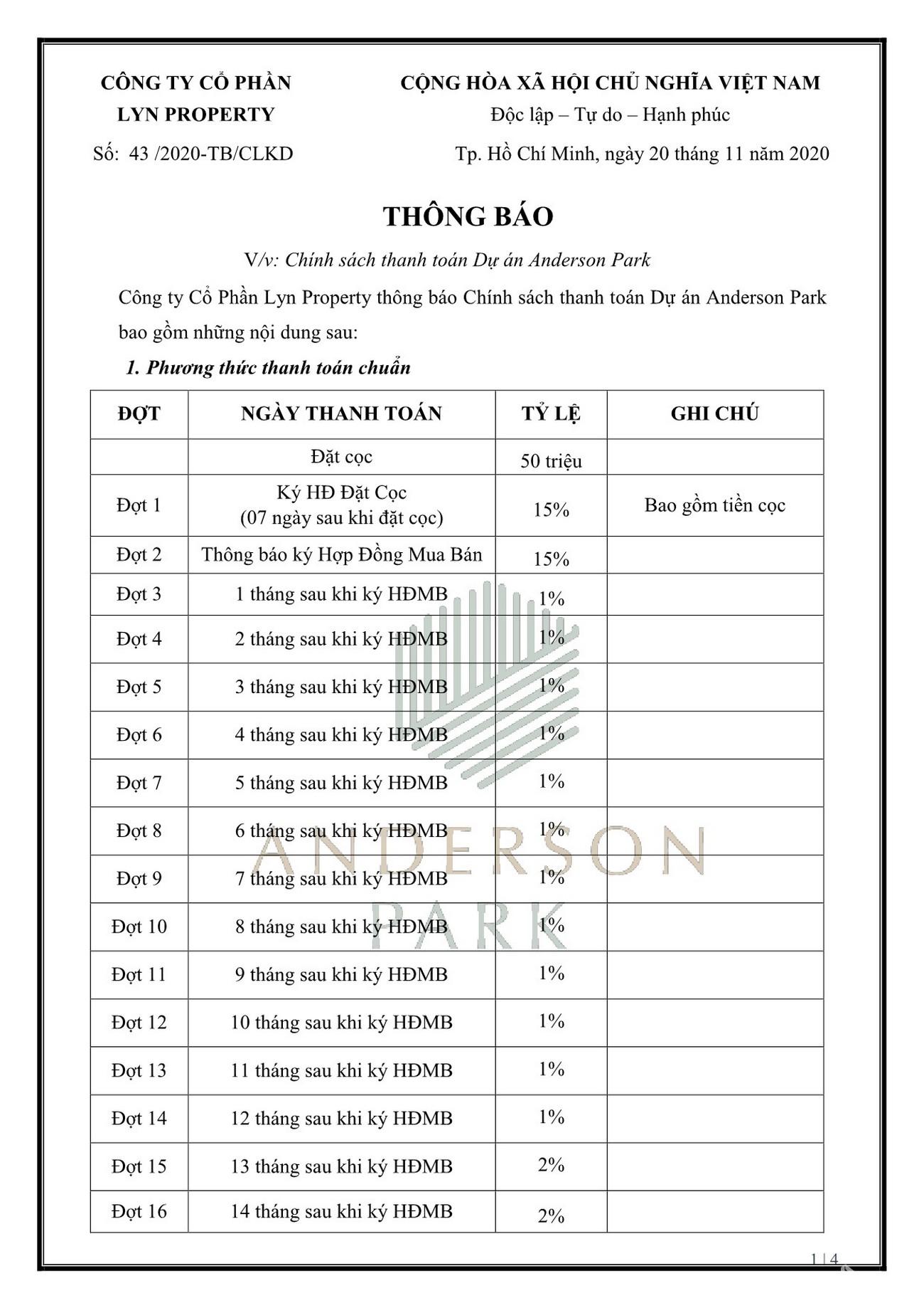 Phương thức thanh toán dự án căn hộ chung cư Anderson Park Thuận An Bình Dương