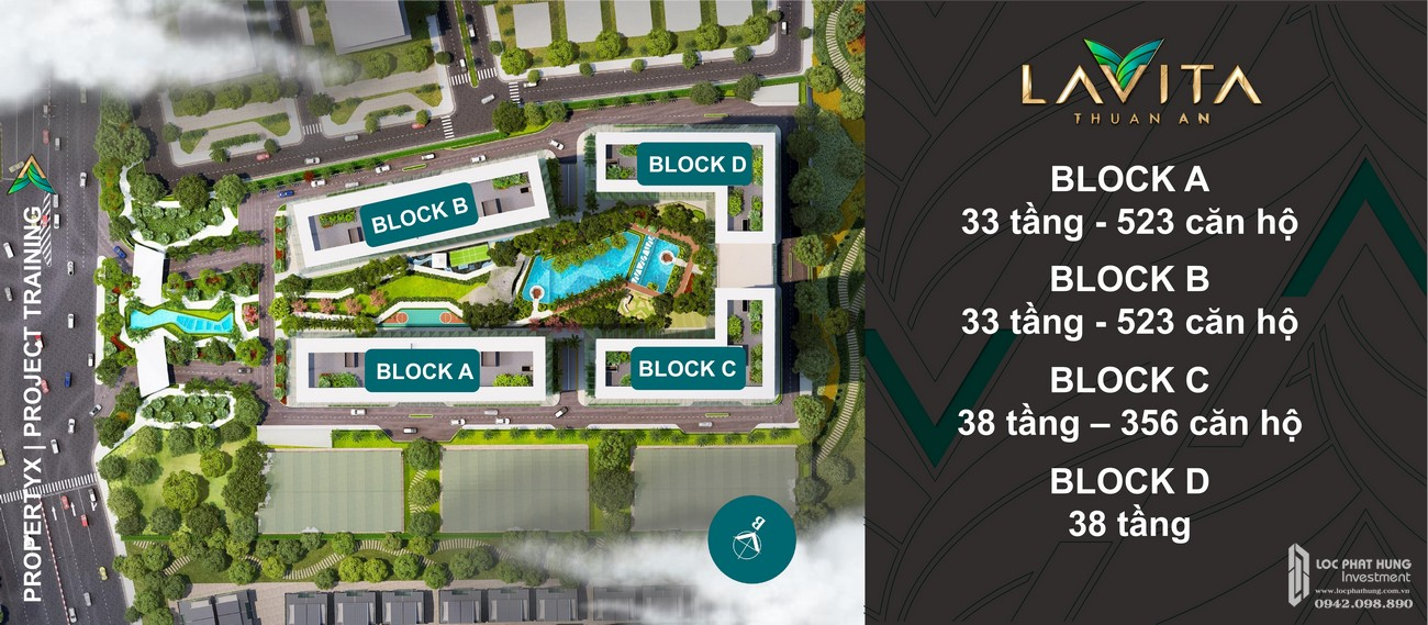 Mặt bằng các block dự án Lavita Thuận An